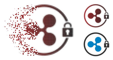 Ilustración de Ripple masternode icon in dissolved, pixelated halftone and undamaged entire variants. Pixels are composed into vector disappearing Ripple masternode icon. - Imagen libre de derechos
