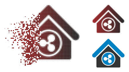 Ilustración de Ripple realty icon in dissolved, dotted halftone and undamaged solid variants. Pixels are grouped into vector disappearing Ripple realty shape. - Imagen libre de derechos