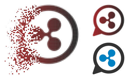 Ilustración de Ripple chat balloon icon in dispersed, pixelated halftone and undamaged entire variants. Pixels are grouped into vector disappearing Ripple chat balloon icon. - Imagen libre de derechos