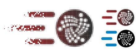 Ilustración de Send Iota icon in dispersed, dotted halftone and undamaged whole versions. Cells are composed into vector dispersed send Iota icon. - Imagen libre de derechos