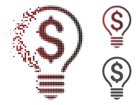 Ilustración de Patent icon in sparkle, dotted halftone and undamaged entire variants. Particles are arranged into vector dissipated patent icon. - Imagen libre de derechos