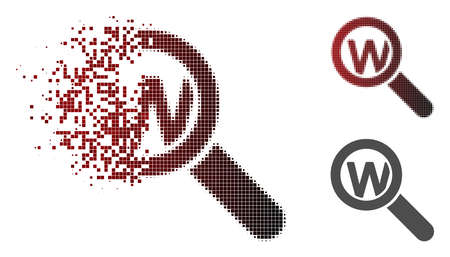 Ilustración de Search word icon in fractured, dotted halftone and undamaged solid variants. Elements are grouped into vector disappearing search word icon. - Imagen libre de derechos