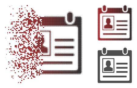 Ilustración de Person cardfile icon in dispersed, pixelated halftone and undamaged entire variants. - Imagen libre de derechos