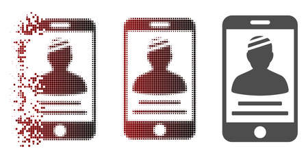 Ilustración de Patient mobile icon in dissolved, pixelated halftone and undamaged whole variants. Fragments are grouped into vector disappearing patient mobile icon. - Imagen libre de derechos