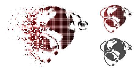 Ilustración de Global healthcare stethoscope icon in dispersed, pixelated halftone and undamaged whole versions. Pieces are grouped into vector disappearing global healthcare stethoscope form. - Imagen libre de derechos