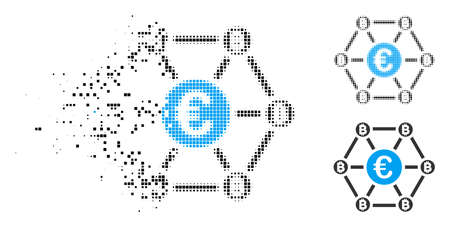 Ilustración de Bitcoin Euro net structure icon in dissolved, pixelated halftone and whole variants. Elements are grouped into vector dispersed Bitcoin Euro net structure icon. - Imagen libre de derechos