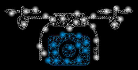 Ilustración de Bright mesh camera drone with glare effect. Abstract illuminated model of camera drone icon. Shiny wire carcass triangular mesh camera drone abstraction in vector format on a black background. - Imagen libre de derechos