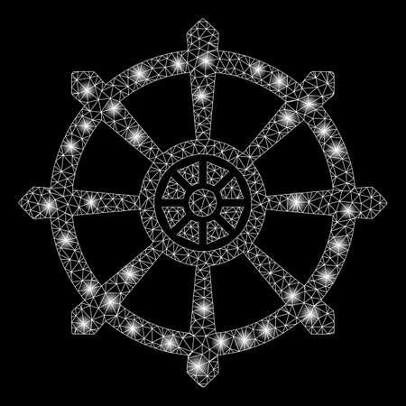 Ilustración de Bright mesh dharma wheel with glare effect. Abstract illuminated model of dharma wheel icon. Shiny wire frame triangular mesh dharma wheel abstraction in vector format on a black background. - Imagen libre de derechos
