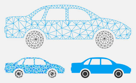 Illustration pour Mesh sedan car model with triangle mosaic icon. Wire carcass polygonal mesh of sedan car. Vector mosaic of triangle parts in variable sizes, and color tinges. Abstract 2d mesh sedan car, - image libre de droit