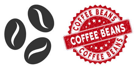 Illustration for Vector coffee beans icon and distressed round stamp seal with Coffee Beans text. Flat coffee beans icon is isolated on a white background. Coffee Beans stamp seal uses red color and dirty design. - Royalty Free Image