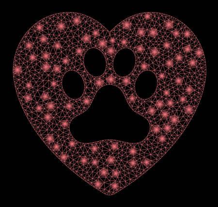 Ilustración de Flare mesh dog love heart with lightspot effect. Abstract illuminated model of dog love heart icon. Shiny wire frame polygonal network dog love heart. Vector abstraction on a black background. - Imagen libre de derechos