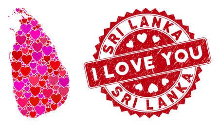 Ilustración de Love collage Sri Lanka Island map and distressed stamp watermark with I Love You text. Sri Lanka Island map collage designed with randomized red heart icons. - Imagen libre de derechos
