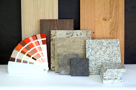 Photo for Material pattern parquet, natural stone, tiles, wooden planks, color card for apartment building, Renovation interior work - Royalty Free Image