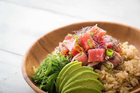 Photo for ahi poke bowl on brown rice - Royalty Free Image