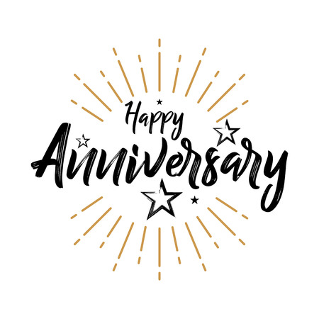Illustration for Happy Anniversary - Vintage Typography - Grunge, Handwritten vector illustration, brush pen lettering, for greeting - Royalty Free Image