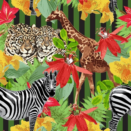Illustration for leopard, zebras, giraffe and flowers - Royalty Free Image