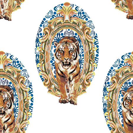 Illustration for seamless pattern of wild tiger in vintage frame - Royalty Free Image