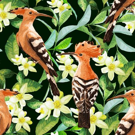 Ilustración de Seamless pattern with exotic birds, tropical leaves and white flowers. Vector background. - Imagen libre de derechos