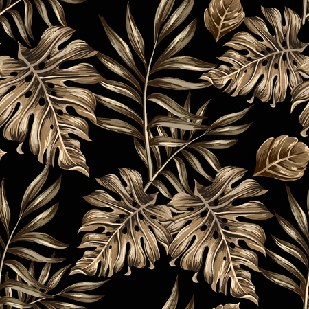 Illustration pour seamless pattern of gold leaves and flowers on a black background - image libre de droit