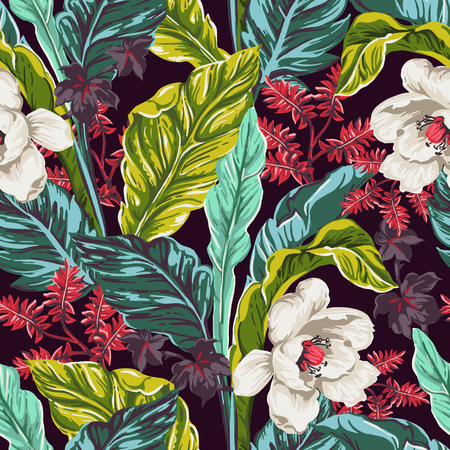 Illustration for seamless pattern of exotic leaves on a dark background - Royalty Free Image