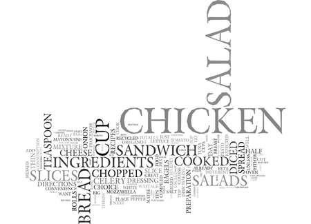 Ilustración de AS A SALAD OR AS A CHICKEN SALAD SANDWICH THE DAY AFTER Text Background Word Cloud Concept - Imagen libre de derechos