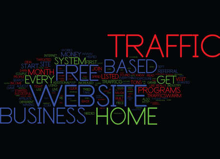 Illustration pour FREE HOME BASED BUSINESS WEBSITE TRAFFIC Text Background Word Cloud Concept - image libre de droit