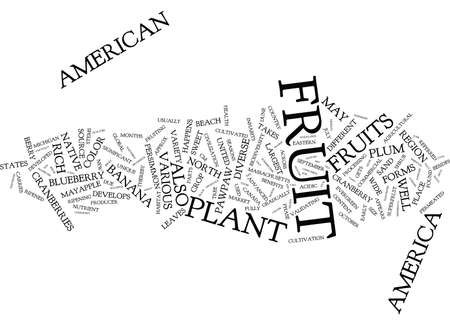 Illustration pour FRUITS THAT GROW IN DIFFERENT SEASONS IN THE US Text Background Word Cloud Concept - image libre de droit