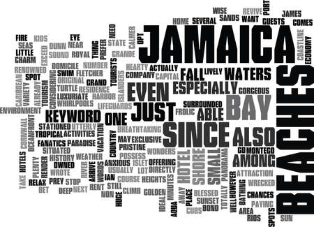 Ilustración de JAMAICA BEACHES Text Background Word Cloud Concept - Imagen libre de derechos