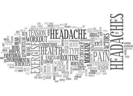 Illustration pour IS EXERCISE A PAIN IN YOUR HEAD Text Background Word Cloud Concept - image libre de droit