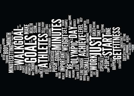 Illustration pour LESSONS ON FITNESS FROM OLYMPIC ATHLETES Text Background Word Cloud Concept - image libre de droit