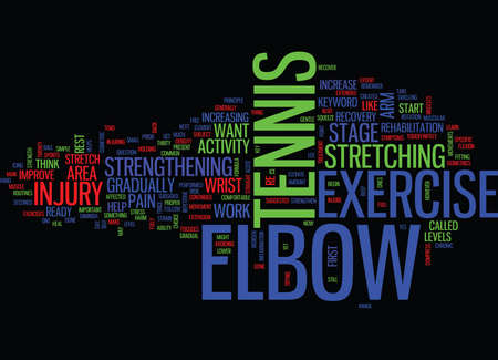 Illustration pour TENNIS ELBOW EXERCISE Text Background Word Cloud Concept - image libre de droit