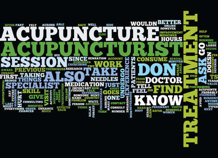 Illustration pour THE DOS AND DONTS OF ACUPUNCTURE Text Background Word Cloud Concept - image libre de droit