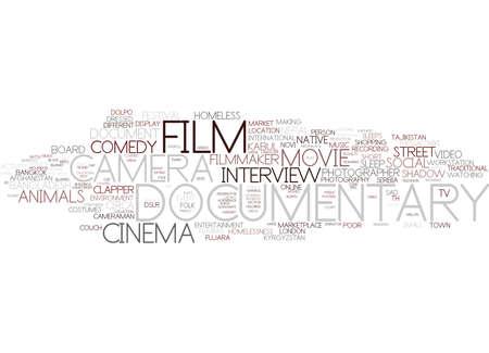 Illustration pour documentary word cloud concept - image libre de droit