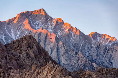 Photo for Lone Pine Peak view on sunrise at Alabama Hills, Eastern Sierra Nevada Mountains, Lone Pine, California, USA. - Royalty Free Image