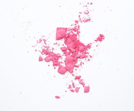 Foto de Makeup cheeks and eye. Pink Cosmetic powder on white - Imagen libre de derechos