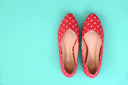 Photo for flat shoes, with polka dotted pattern - Royalty Free Image