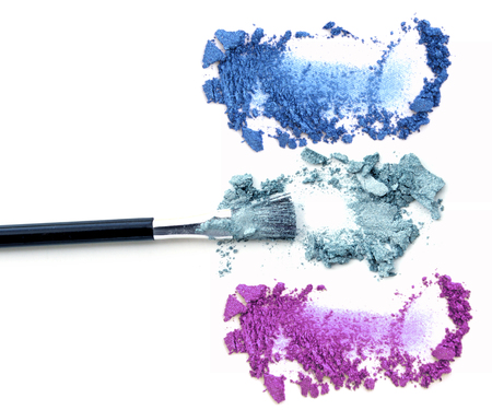 Brush make up. Color eye shadow isolate.