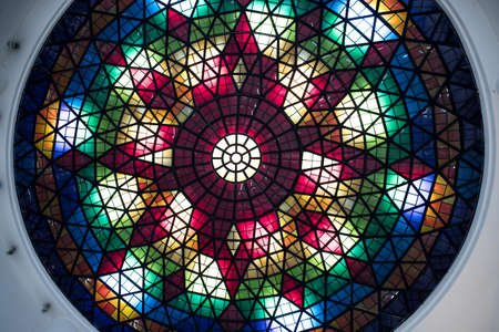 Photo for color stained glass ceiling in the form of a dome in a modern building - Royalty Free Image