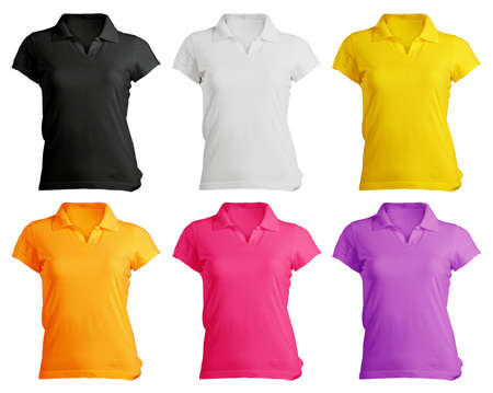 Photo for women s polo shirt template in colors  - Royalty Free Image