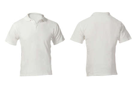 Photo for Men's Blank White Polo Shirt, Front and Back Design Template - Royalty Free Image