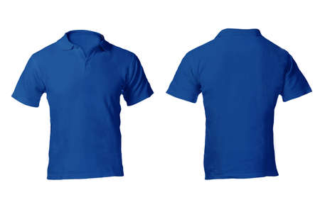 Photo for Men's Blank Blue Polo Shirt, Front and Back Design Template - Royalty Free Image