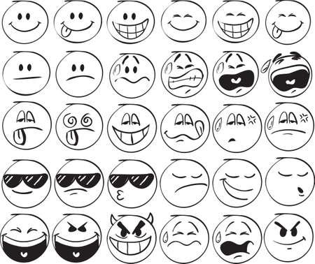 Illustration pour Set of doodle Smiles on white background - image libre de droit