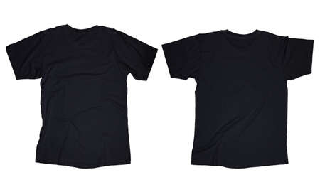 Foto de Wrinkled blank black t-shirt template, front and back design isolated on white - Imagen libre de derechos