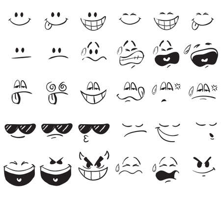 Illustrazione per Vector illustration of cartoon face expressions in doodle style - Immagini Royalty Free