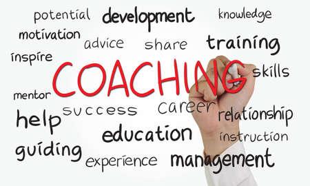 Foto de Business concept image of a hand holding marker and write Coaching doodle - Imagen libre de derechos