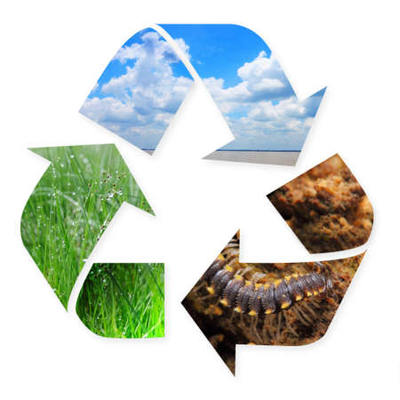Photo for Recycling symbol with nature images of grass, air and soil in it isolated on white - Royalty Free Image