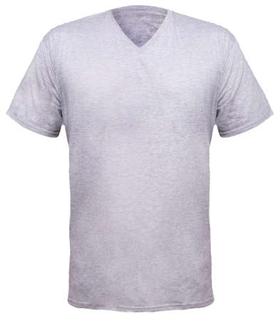 Photo for Misty Grey t-shirt mock up, front view, isolated. Plain gray shirt mockup. V-Neck shirt design template. Blank tees for print - Royalty Free Image