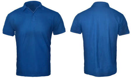 Photo pour Blank polo shirt mock up template, front and back view, isolated on white, plain blue t-shirt mockup. Polo tee design presentation for print. - image libre de droit