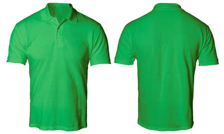 Photo for Blank polo shirt mock up template, front and back view, isolated on white, plain green t-shirt mockup. Polo tee design presentation for print. - Royalty Free Image