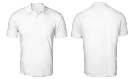 Photo pour Blank polo shirt mock up template, front and back view, isolated on white, plain t-shirt mockup. Polo tee design presentation for print. - image libre de droit